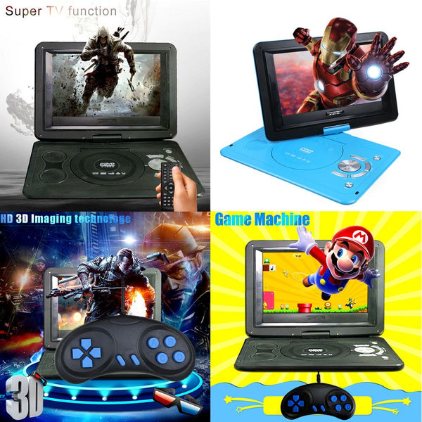 "13.9"" Portable DVD Player USB Built-in game handle + CD With 270° Swivel"