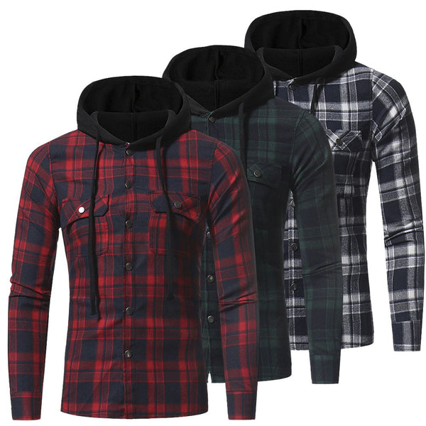 Mens Hooded Quilted Padded Shirt Flannel Plaid Work Jacket Check Warm Top