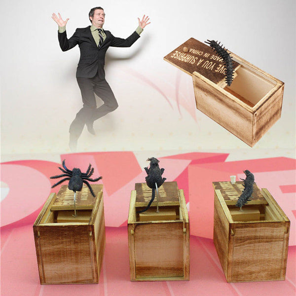 Wooden Prank Spider Funny Box Hidden in Case Trick Play Joke Gag Toys