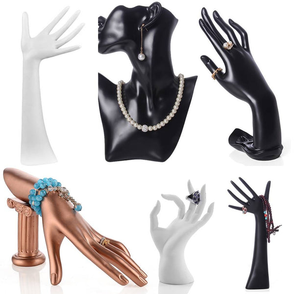 Mannequin Hand Finger Neck Jewellery Ring Bracelet Display Stand Rack Holder