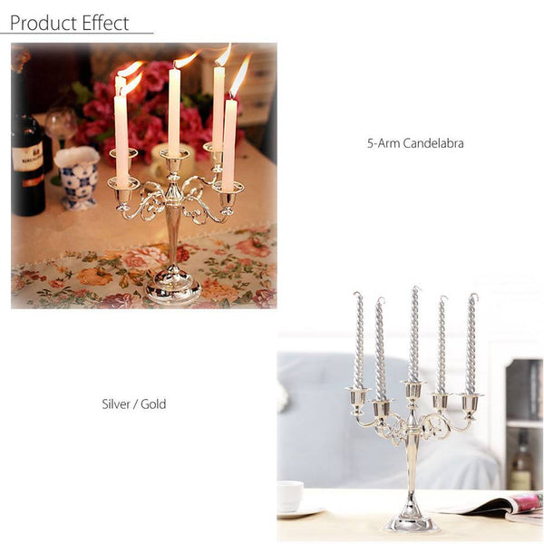 5 Arm Metal Candelabra Candle Stand Holders Dining Wedding Candle Sticks