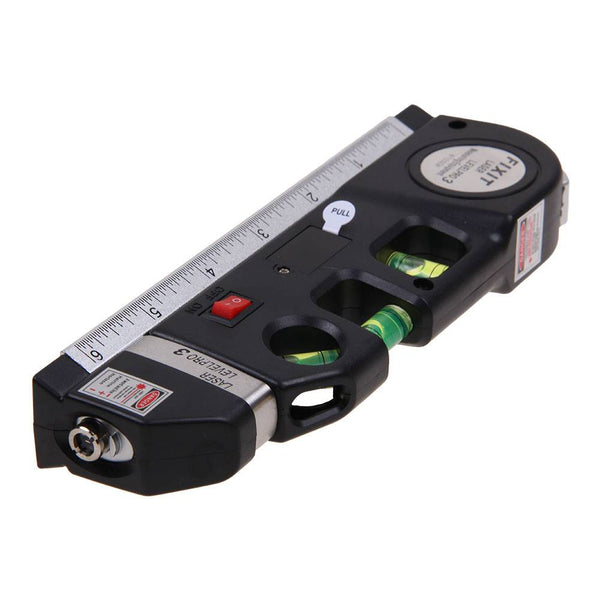 Laser Level 8FT Aligner Horizon Vertical Cross Line Measure Tape Ruler