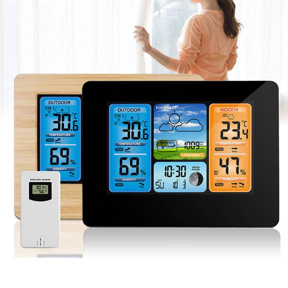 Digital LCD Wireless Weather Station Clock Calendar Thermometer