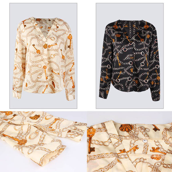 Women Patchwork Printed Bow Tie Front Long Sleeve V-Neck Blouse Tops Shirt