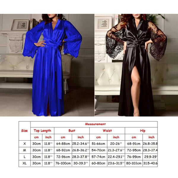 Women Silk Lace Kimono Dress Gown Bath Robe Nightie Dress Sleepwear