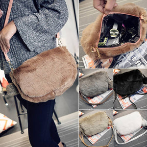 Lady Women Gifts Bag Faux Fur Shoulder Handbag Purse Tote Clutch