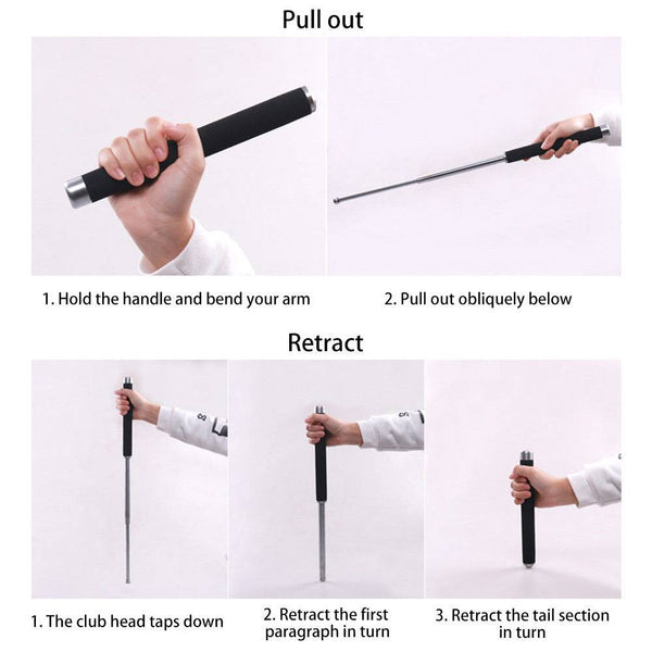 26'' Retractable Telescopic Hiking Security Stick Self-Protector Tool