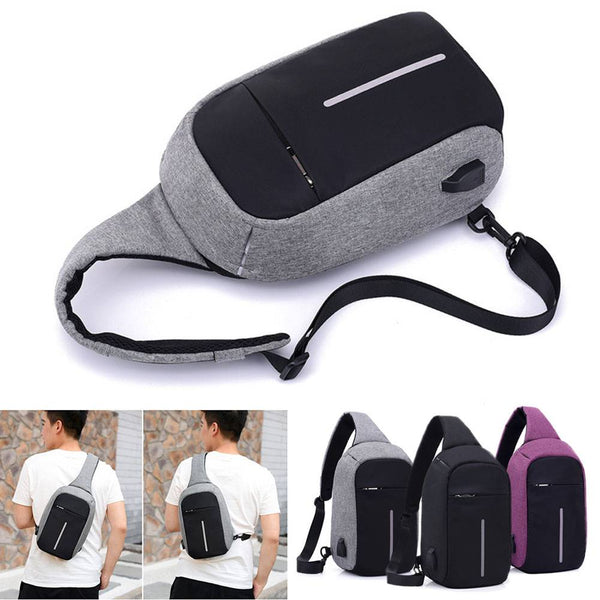 Backpack Sling Sports Crossbody Port Anti-theft Travel Bag USB Charging
