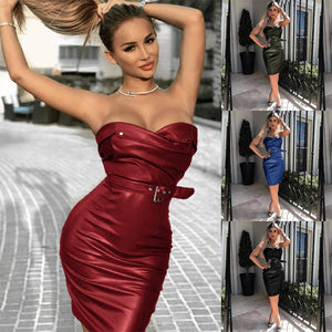 Women Sexy Sleeveless Synthetic Leather Club Split Bodycon Pencil Dress