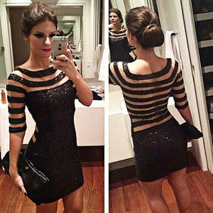 Womens Sexy Sequin Striped Bodycon Dress Party Evening Club Mini Dress