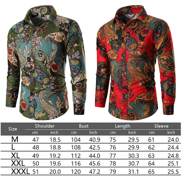 Men Long Sleeve Tee Floral Casual Shirt Stylish Slim Fit Luxury Shirts Top