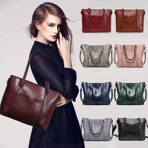 Women Oil Wax Leather Tote Messenger Handbag Large Handbag Soft Shoulder Bag