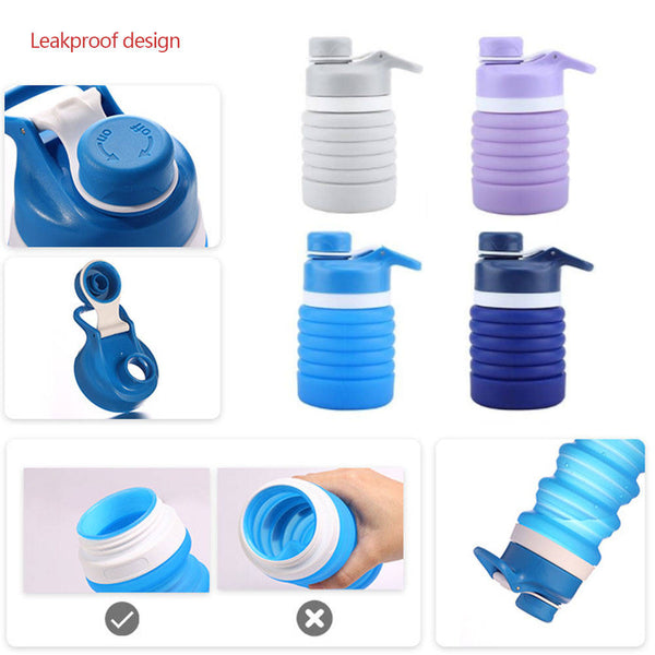500-1000ml Collapsible Silicone Water Bottle Folding Outdoor Sport Portable