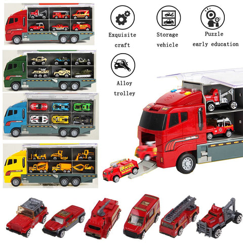 7pcs Kids Cars Toy Construction Truck Excavator Digger Demolition Vehicle