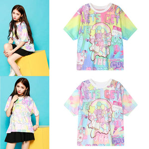 Women Japanese Harajuku Cartoon Print Cute Girls T-shirt Short Sleeve Tops
