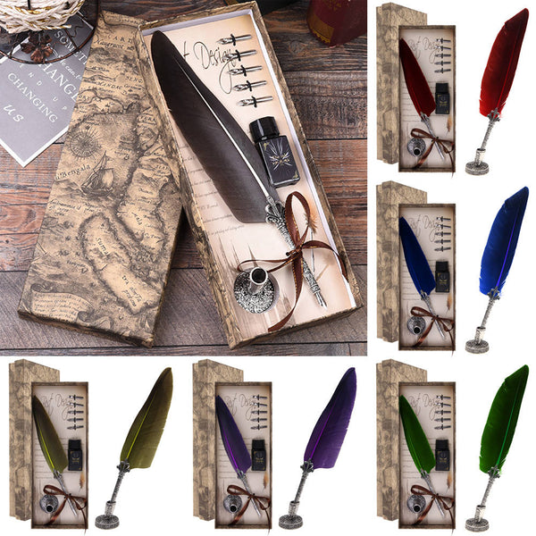 Vintage Quill Dip Pen Feather Pen + Ink Bottle & 5 Nibs Gift with Box