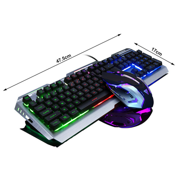 Backlit Mechanical Keyboard Wired USB Illuminated Ergonomic PC Gaming +Mouse