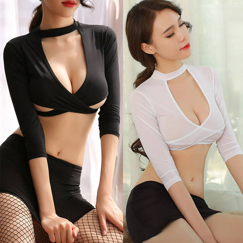 Sexy Women 3 Piece Secretary Uniform Cosplay Costume Mini Skirt Lingerie Set
