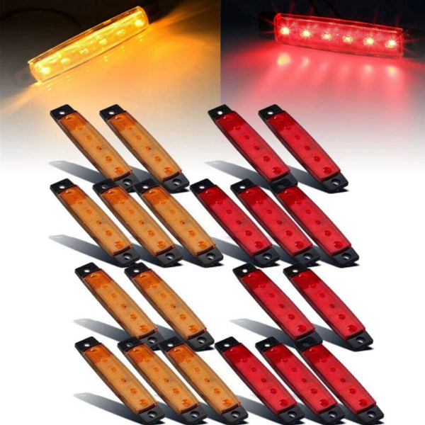 10X Red +10X Amber 12V 6 SMD Side Truck Trailer Boat LED Marker Rear Light