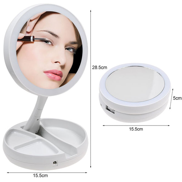 10x Magnifying Makeup Mirror Beauty Stand Double Side with LED Light