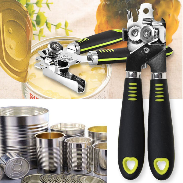 Heavy Duty Tin Can Opener With Easy Comfy Grip Stainless Steel