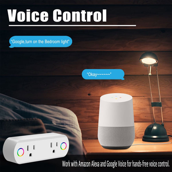 Smart Plug WiFi Socket 2 Outlet Remote Control Switch Timer w/ Alexa