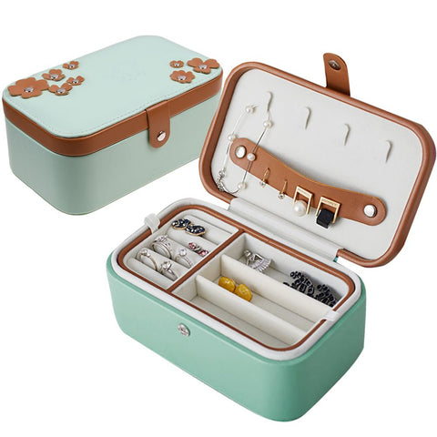Portable Travel Jewelry Box Organizer PU Leather Ornaments Stud Case Storage