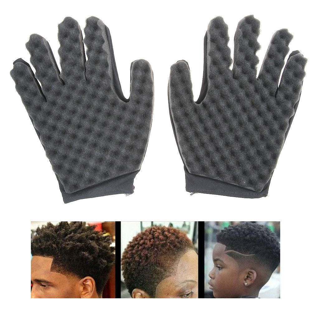 Curling Mold Coil Black Curly Hair Glove Wave Barber Hair Brush Sponge Glove