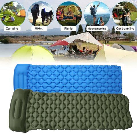 Light Inflatable Sleeping Mat Camping Air Pad Roll Bed Mattress With Pillow