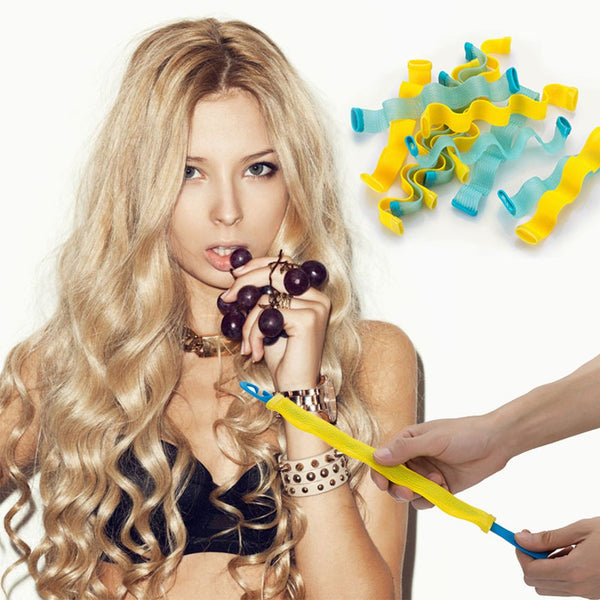 12pcs Water Wave Magic Curlers Formers Leverage Spiral Hairdressing Tool