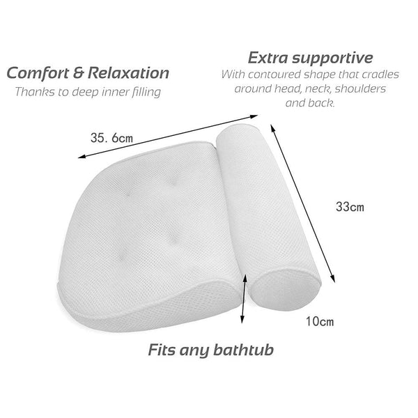 Luxury Bath Spa Head Neck Rest Relaxing Aid Confort Pillow With Suction Cup