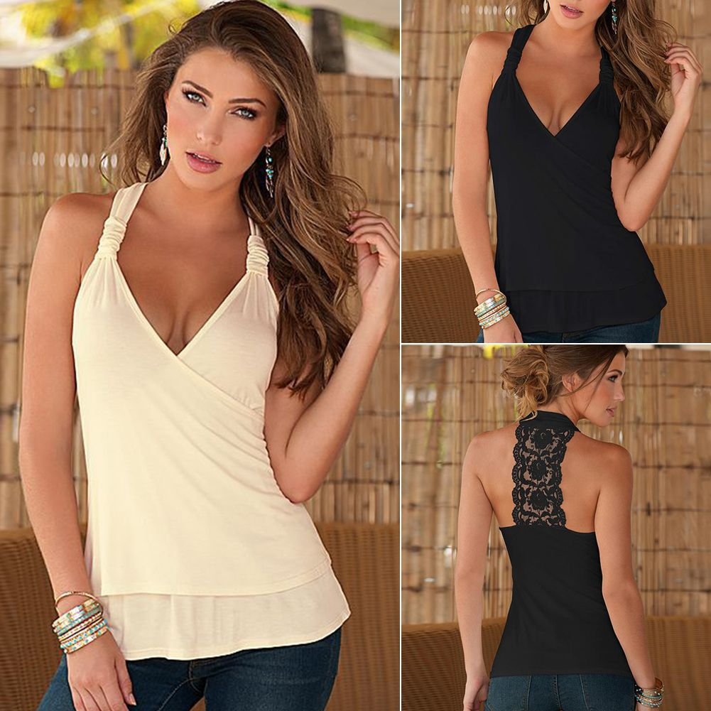 Women Sleeveless V Neck Tank Top Plain Lace Crochet Vest Blouse Beach Tee