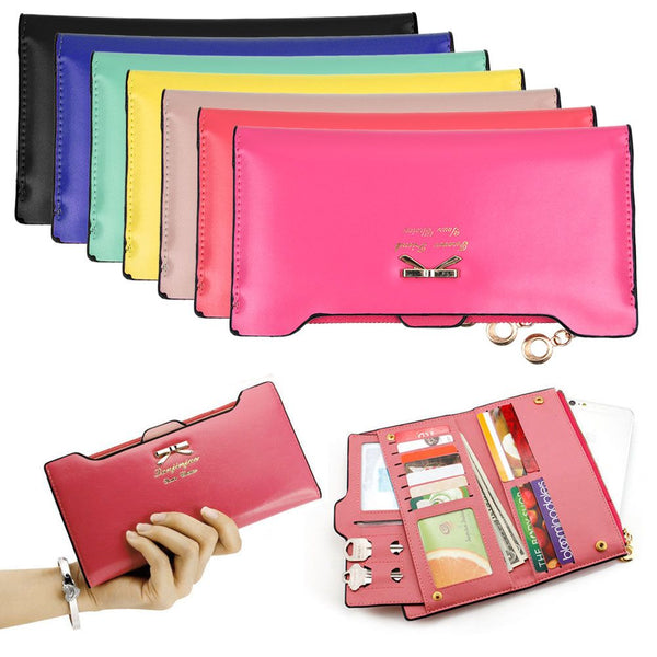 Women Long Leather Wallet Cute Bow Purse Multi ID Credit Card Holder Bags