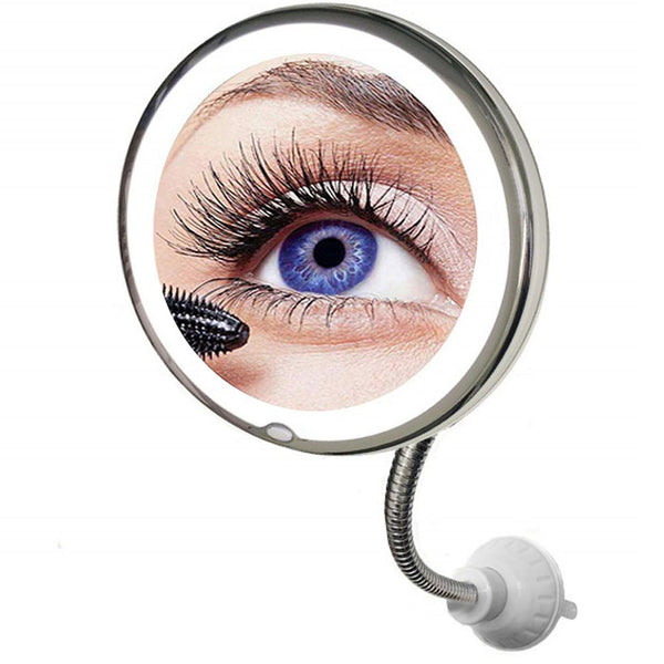 Flexible Illuminated Makeup Mirror 10x Mag Flexi With Bendable Neck Cosmetic