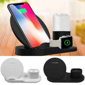 3 in1 Qi Wireless Charger Fast Charging Stand For Apple Watch iPhone Samsung