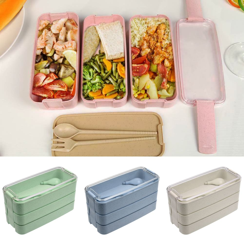 900ml 3Layer Wheat Straw Microwave Food Storage Container Lunch Box