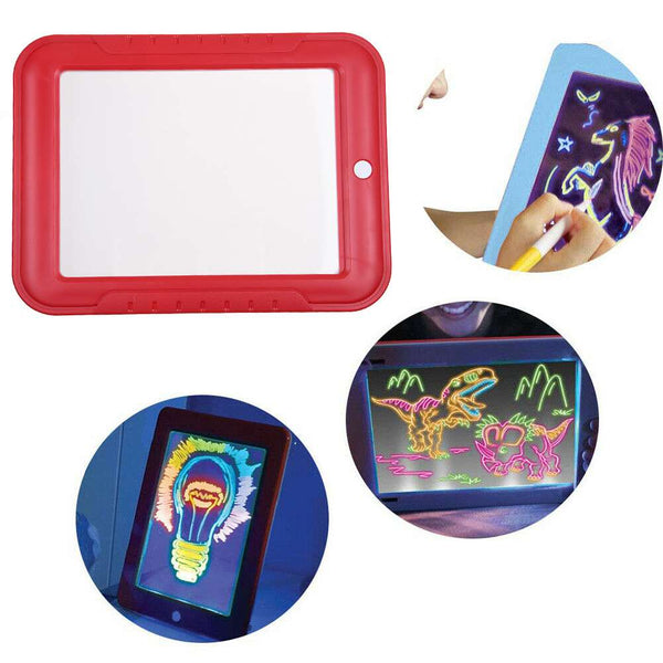 3D Magic Drawing Board Pad Glowing Puzzle Writing Doodle Kids Toy