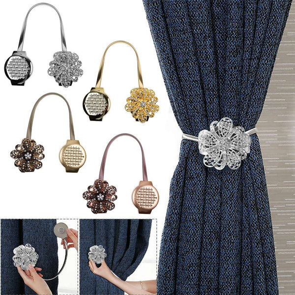 Magnetic Curtain Tiebacks Crystal Tie Backs Buckle Clips Holdbacks Home