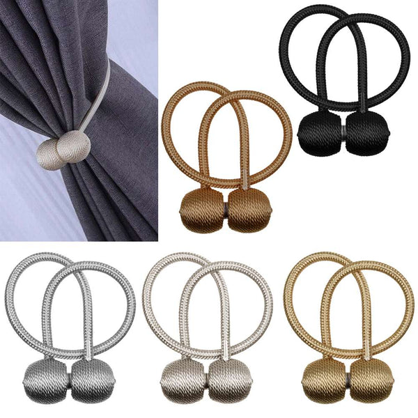 Pair of Magnetic Ball Curtain Tiebacks Holdbacks Curtains & Voiles