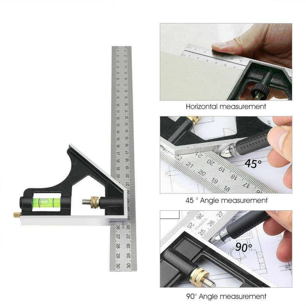 "300mm 12"" Adjustable Engineers Combination Try Square Set Right Angle Ruler"