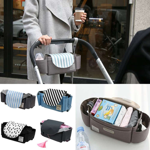 Baby Pushchair Storage Organiser Bottle Holder Buggy Pram Stroller Mummy Bag