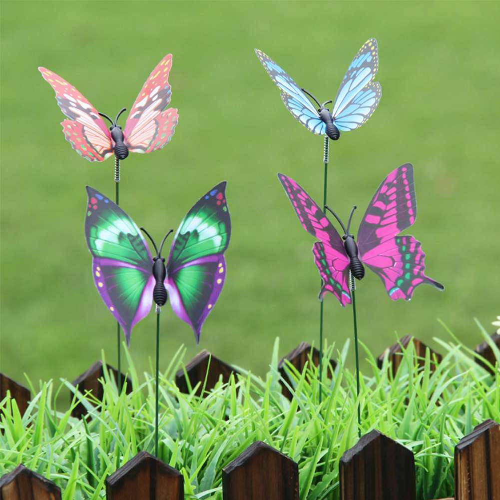 Lawn Ornament Fairy Garden Decoration Pot Butterfly Stakes