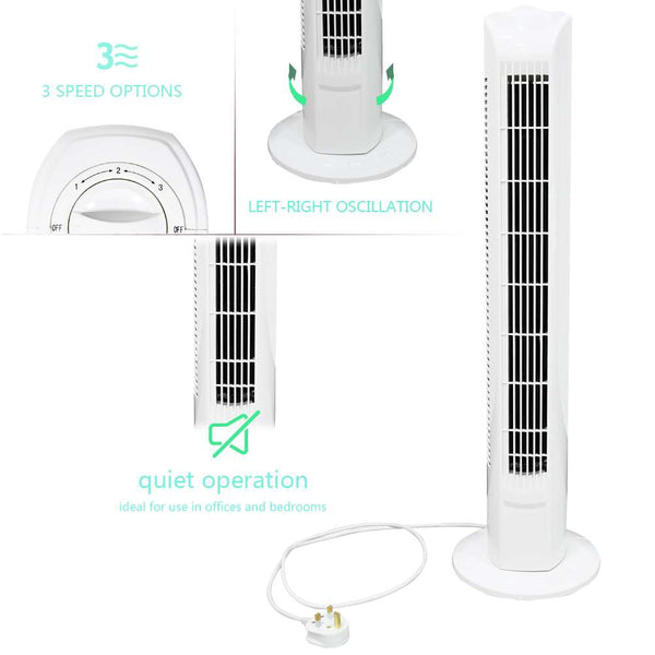 "32"" Oscillating Tower Fan 45W Slim Cooling 3 Speed Free Standing 90 Degree"