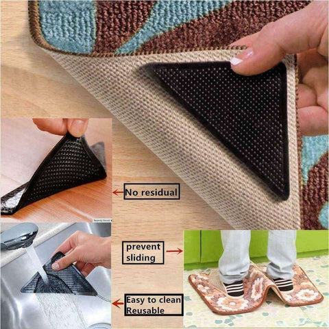 4 x Ruggies Rug Grippers Carpet Mat Non Slip Skid Reusable Washable Grips