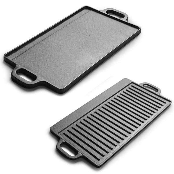 Non-Stick Cast Iron Reversible Griddle Plate Grill Pan BBQ Hob Cooking Pan