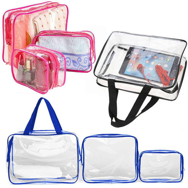 3Pc PVC Clear Cosmetic Makeup Toiletry Bag Case Travel Holder Pouch Wash Kit