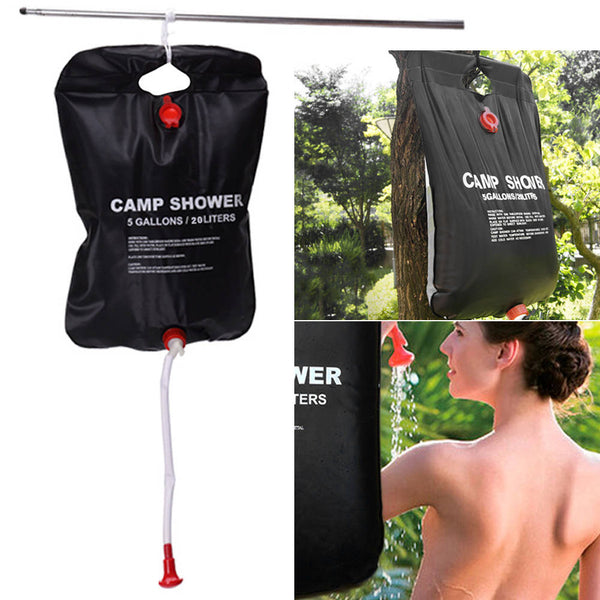 5 Gallon/20L Solar Camping Shower Outdoor PVC Bag Hiking Heated Water