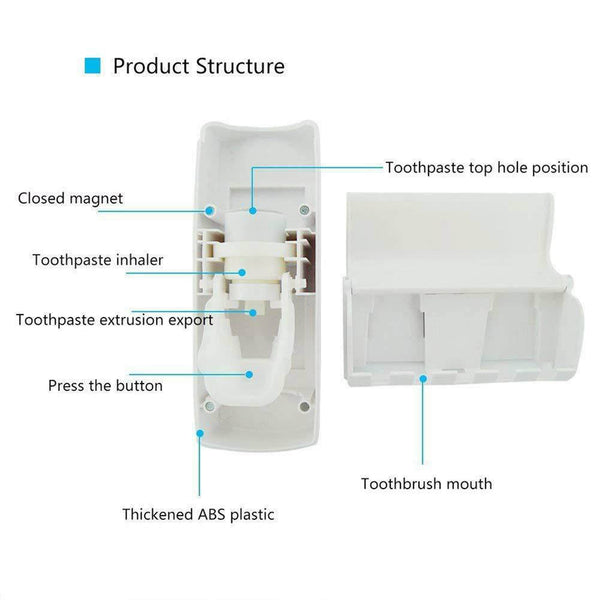 Automatic Toothpaste Dispenser & Toothbrush Holder Set Bathroom Kit