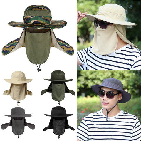 Outdoor Snap Hat Brim Ear Neck Cover Sun Flap Cap Visor Fishing Hiking