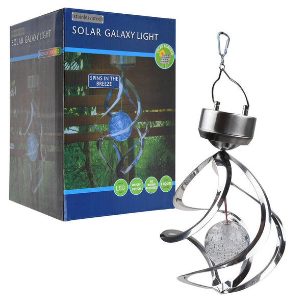 Solar Powered Spiral Wind Spinner Color Changing LED Light Wind Chimes Lamp
